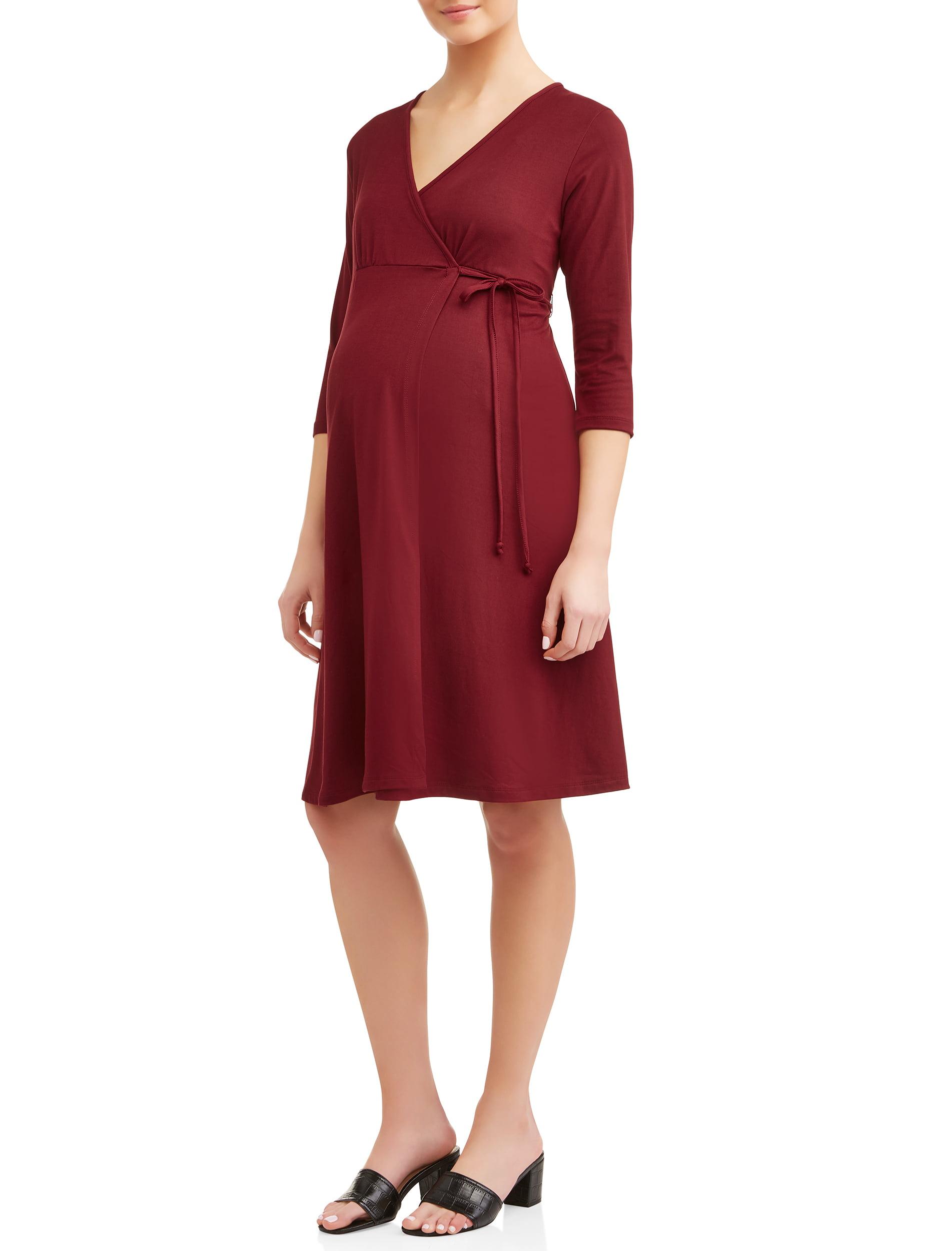 Maternity Nursing Friendly 3/4 Sleeve Wrap Dress