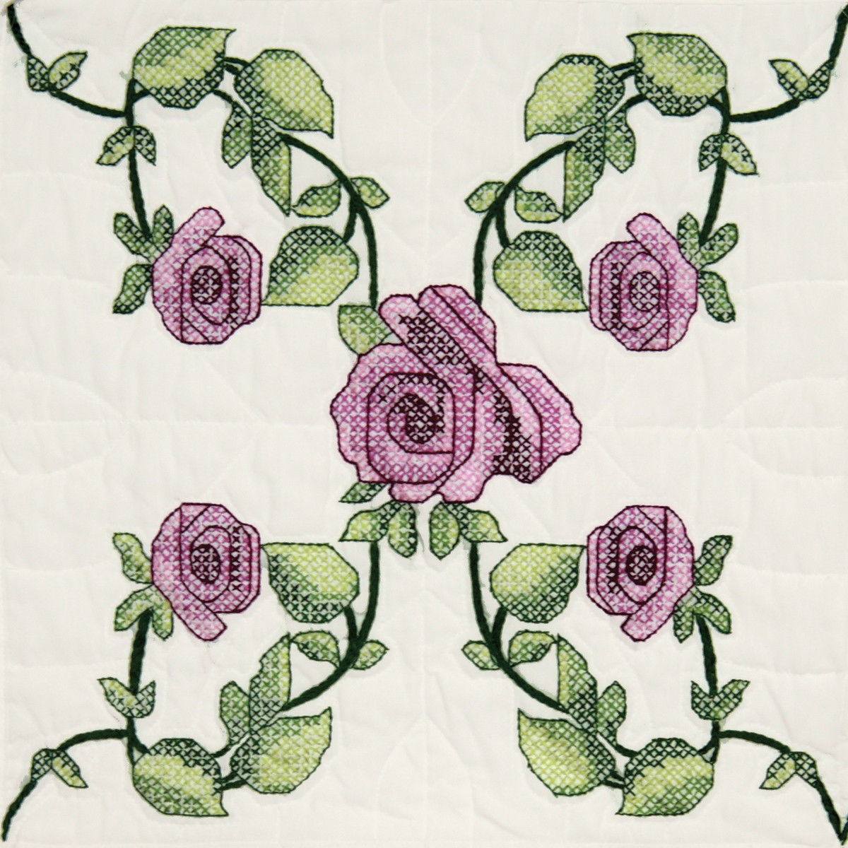 "Fairway Needlecraft Rose Vine Stamped Quilt Blocks, 18"" x 18"""