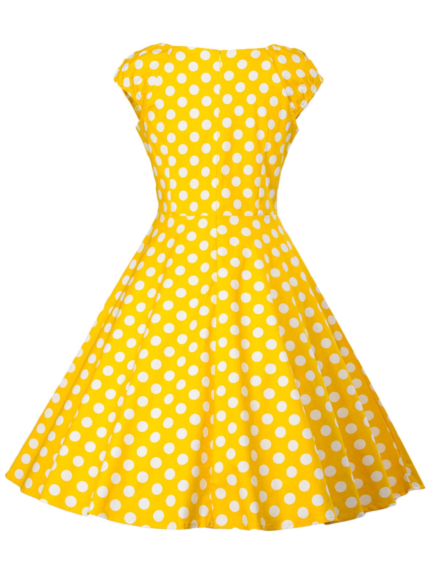 Dresstells/® Womens 50s Vintage Halter Polka Dots Rockabilly Audrey 50s Retro Bridesmaid Cocktail Party Prom Dress with Belt