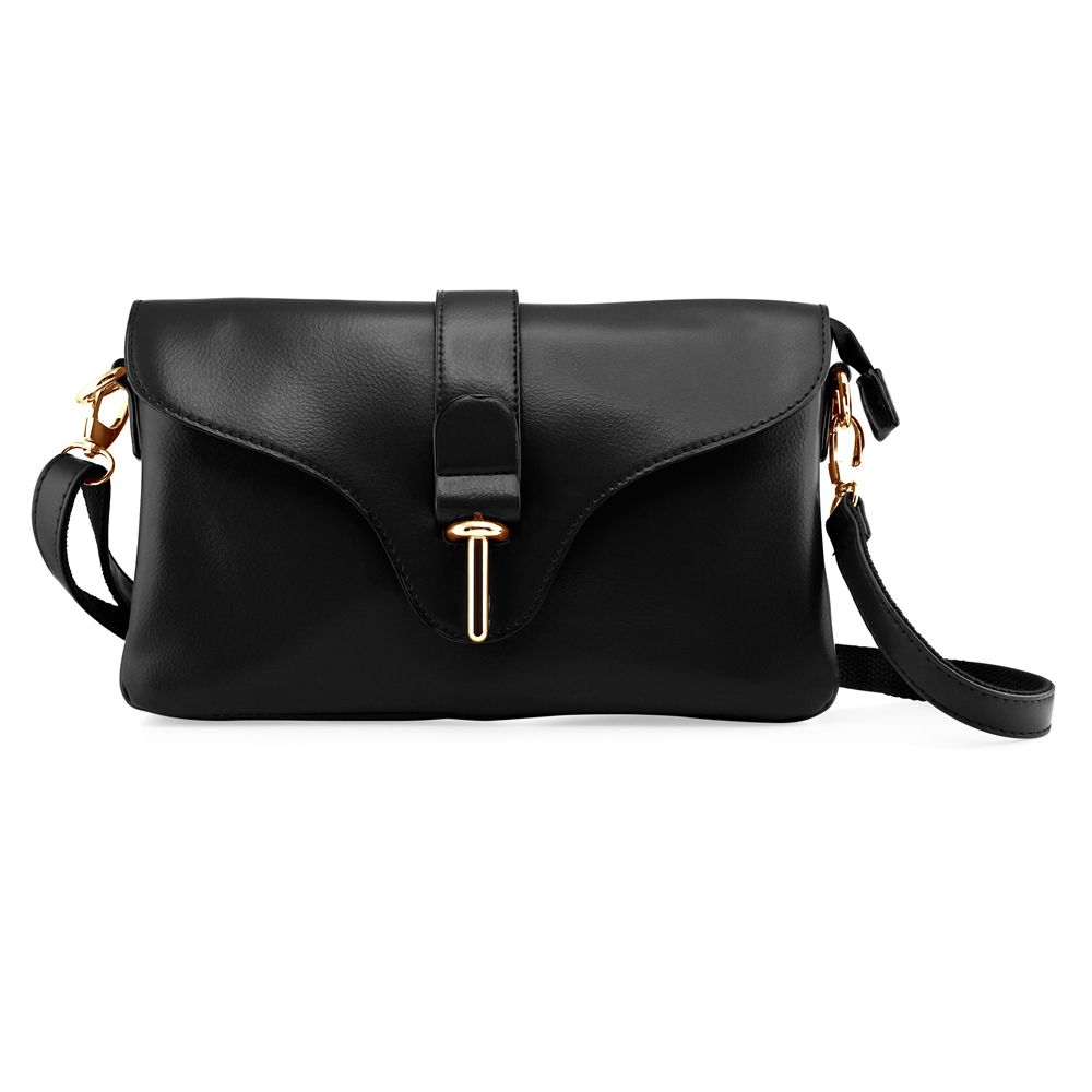 Fashion Women Handbag Shoulder Bag Tote Purse Satchel Messenger PU Leather Crossbody Bag - Black