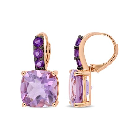 Tangelo 15-1/2 Carat T.G.W. Rose de France and African-Amethyst Rose-Plated Sterling Silver Drop Earrings