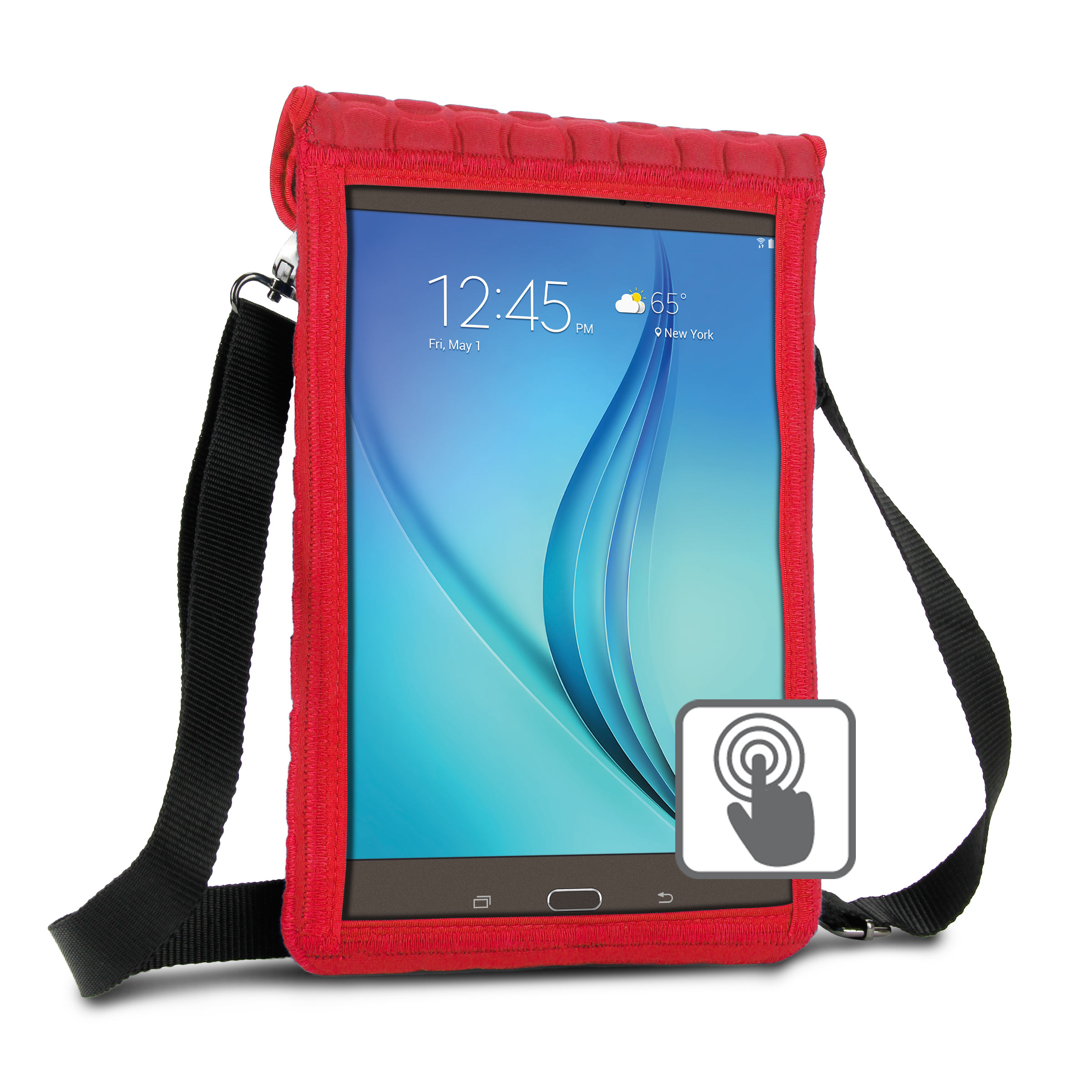 "10 Inch Tablet Case Holder Neoprene Sleeve Cover by USA Gear (Red) Built-in Screen Protector & Carry Strap - Fits Samsung Galaxy Tab A 10.1, Insignia FLEX 10.1, Acer ICONIA ONE 10, more 10"" Tablets"