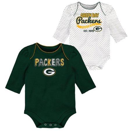 Girls Newborn & Infant Green/White Green Bay Packers 2-Pack Long Sleeve Bodysuits