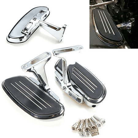 - One Pair Chrome Streamline Passenger Footboard Bracket Set Slipstream Front  Rear Floorboard Rest Pegs Mounts Fit Kit For Harley Touring 93-16