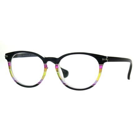 Womens Keyhole Horn Rim Round Thin Reading Glasses Black Rainbow (Thin Wire Rim Glasses)
