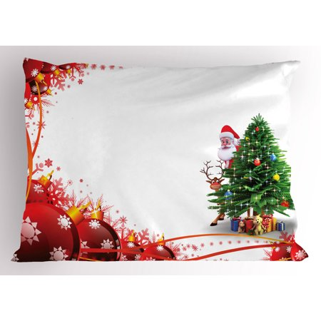 Santa Pillow Sham Father Christmas and Reindeer Smiling behind a Festive Pine Tree in Red Balls Frame, Decorative Standard Size Printed Pillowcase, 26 X 20 Inches, Multicolor, by (Best Dad Pillows)
