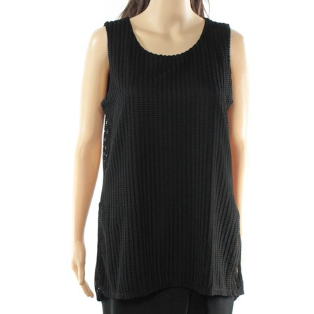 Alfani NEW Black Womens Size Large L Textured Shell Sleeveless Blouse ()