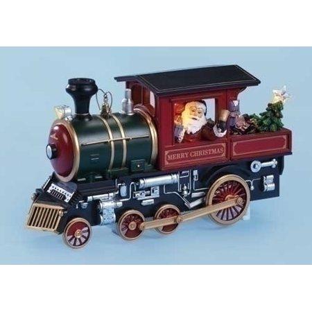 Santa Claus Train - Santa Claus Riding a Train Musical Light Up Christmas Figurine