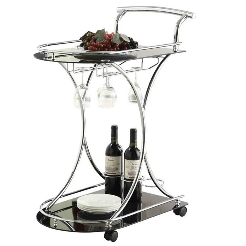 Bowery Hill Serving Cart with 2 Frosted Glass Shelves in Black by Bowery Hill