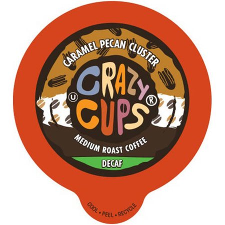 Crazy Cups Decaf Caramel Pecan Cluster Flavored Coffee Single Serve K-Cups, 22 count