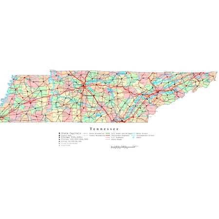 Printable Digital Map (Laminated Map - Printable color Map of Tennessee Poster 24 x 36)