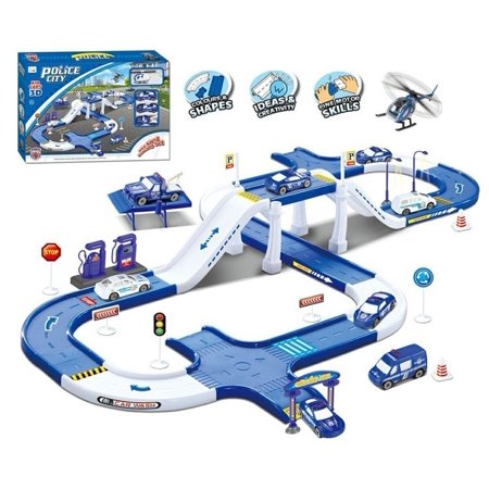 Police city track toy - with garage, car wash and gasoline. includes 2 cars, 1 truck crane, 1