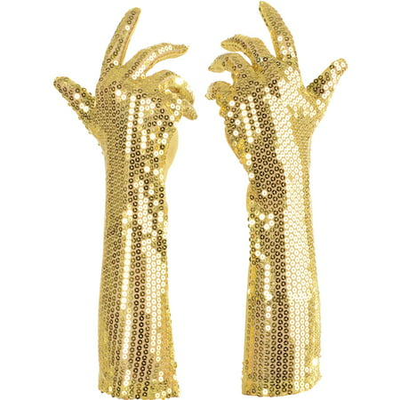 Long Flapper Hair (Gold Sequined Long Fancy Adult Womens Flapper Costume)