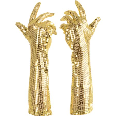 Gold Sequined Long Fancy Adult Womens Flapper Costume Gloves