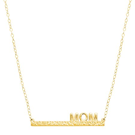 Simply Gold 'Mom' Bar Necklace in 10kt Gold