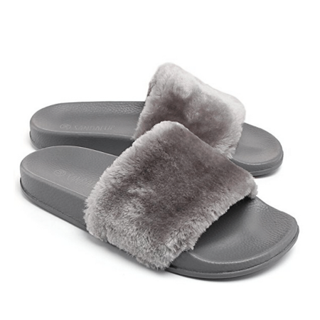 d2f936134948 phoebecat - Black   Pink   Gray Faux Fur Open Toe Shoes Soft Slide Fluffy  Flip Flops for Fall
