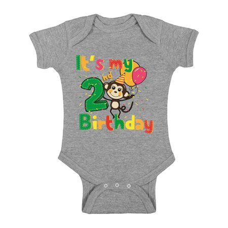 Awkward Styles Monkey Birthday Baby Bodysuit Short Sleeve Monkey Gifts for 2 Year Old Monkey Birthday Party Birthday Baby Boy One Piece Top Monkey Baby Girl Bodysuit 2nd Birthday Party for Baby](Gifts For 2 Year Olds)