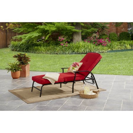 Mainstays Belden Park Outdoor Chaise Lounge with Cushions for Patio and Deck, Red