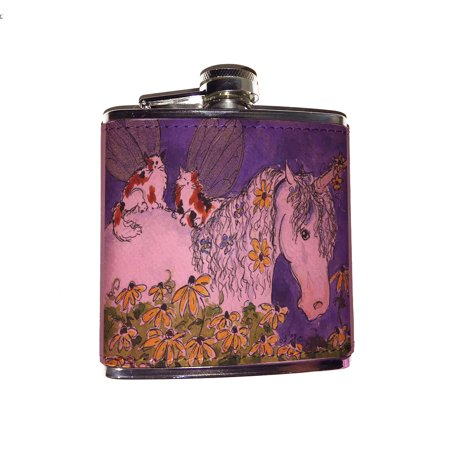 KuzmarK Pink Leather Flask - Unicorn and Calico Kitty Fairies Fantasy Horse and Cat Art by Denise Every