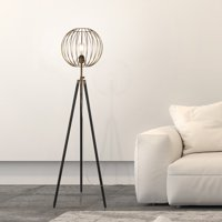 Evelyn&Zoe Traditional Metal Cage Tripods Floor Lamp