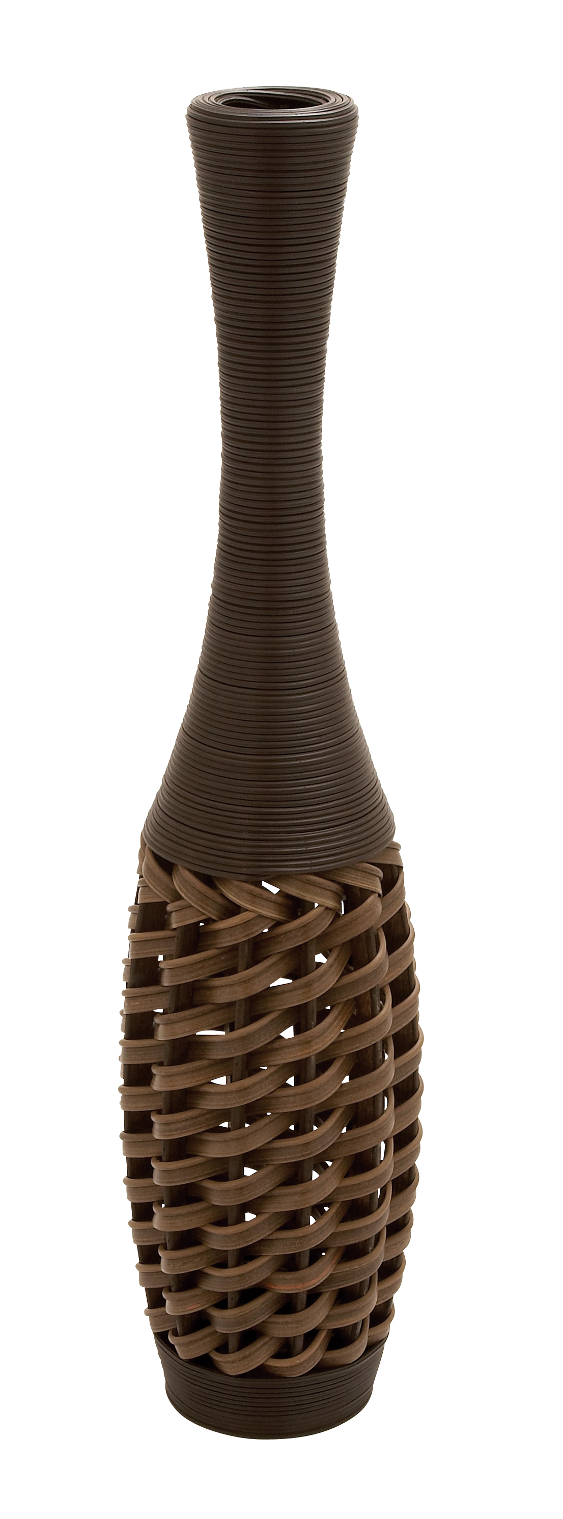 Large Black And Brown Rattan Floor Vase