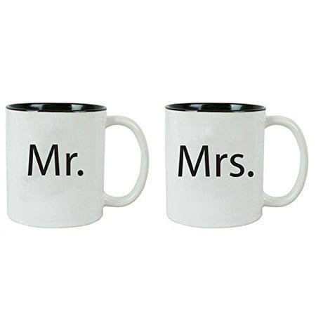 Mr. and Mrs. Ceramic Coffee Mug Bundle Set - Great for Wedding Gifts and Newlyweds