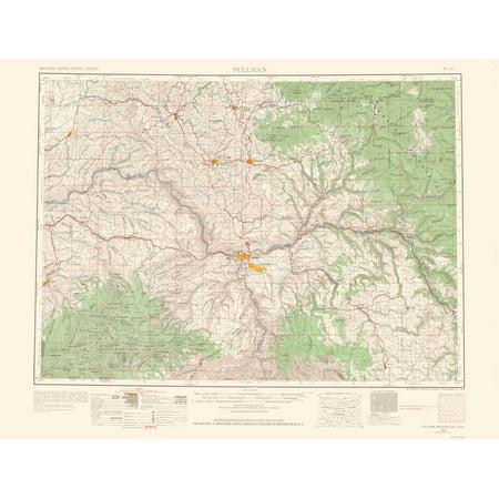 Topographical Map Print Pullman Washington Idaho Usgs 1963 23