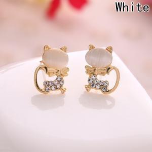 Fancyleo 2 Pairs Cute Cat Earrings Rhinestone Stud Earrings