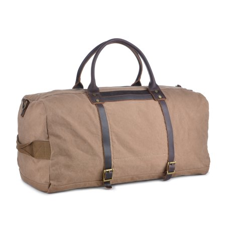 Gootium Unisex Vintage Canvas Leather Travel Duffel Bag Weekend Bag Sports Gym Bags, Coffee