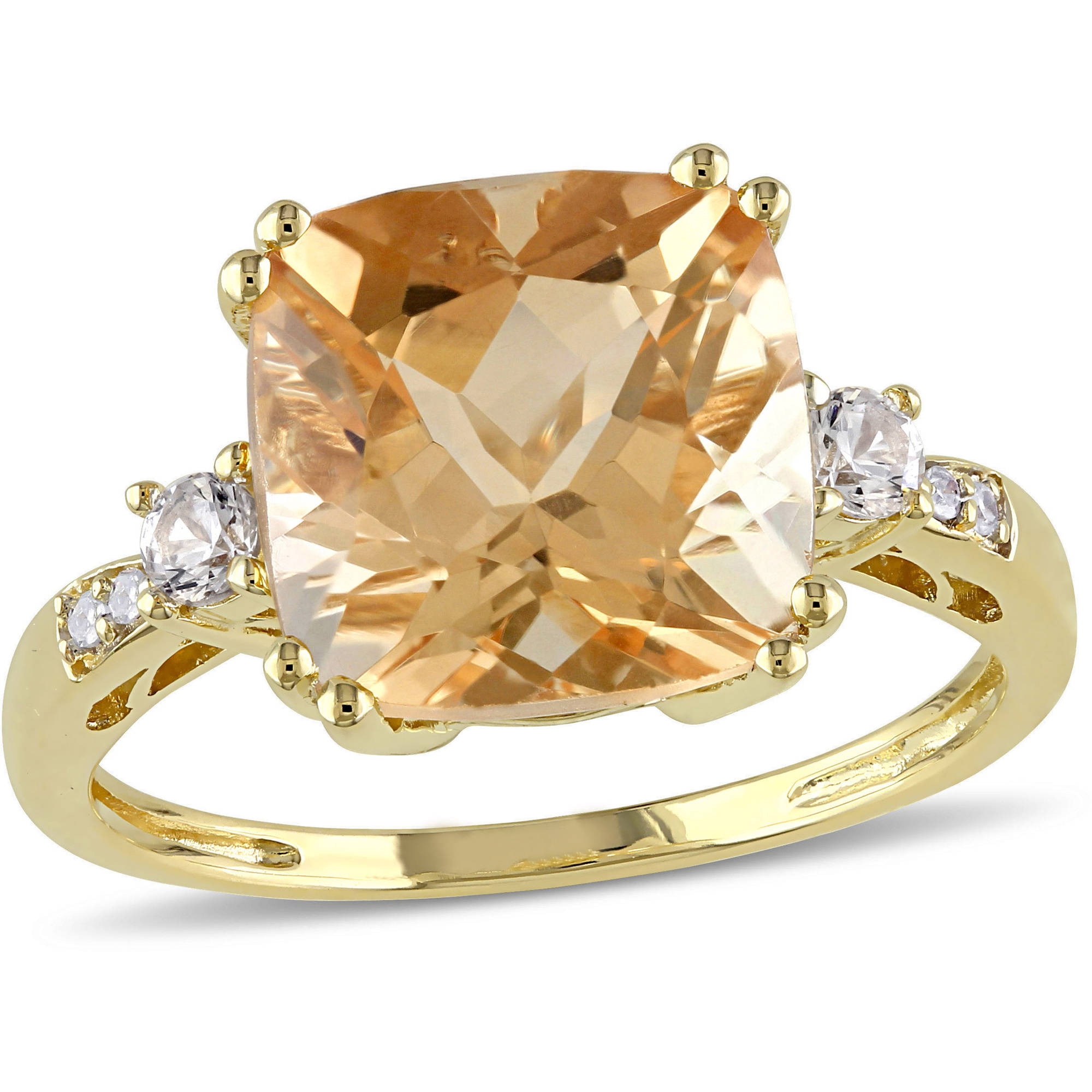 Tangelo 3-3 4 Carat T.G.W. Citrine and Created White Sapphire with Diamond-Accent 10kt Yellow Gold Cocktail Ring by Tangelo
