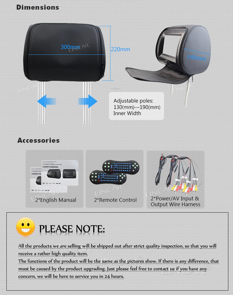EinCar Black 2 PCS Car Headrest DVD Player 9 HD Display Screen With FM Transmitter Game Disc MP3 IR Headphones X