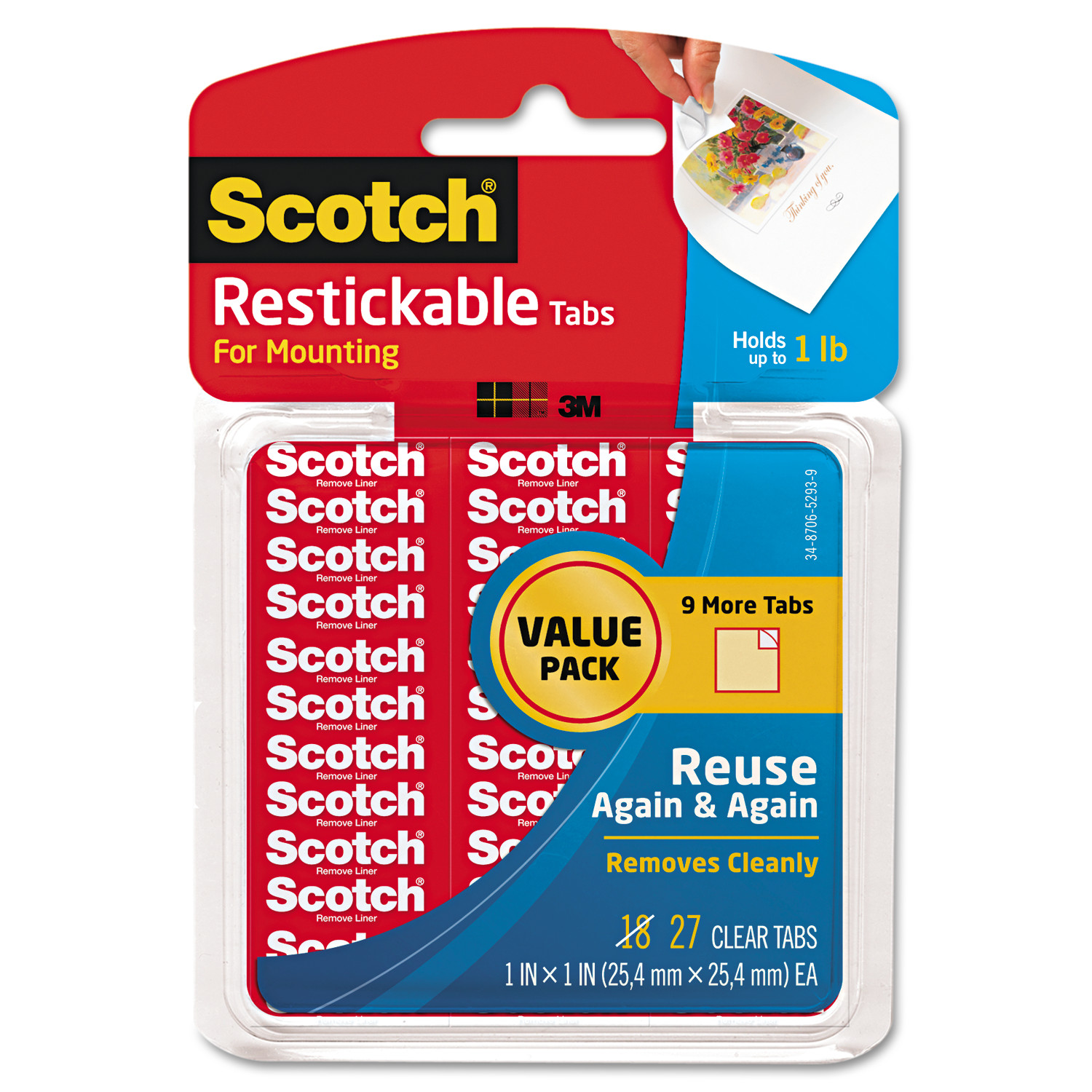 "Scotch Restickable Mounting Tabs, 1"" x 1"", Clear, 27/Pack"