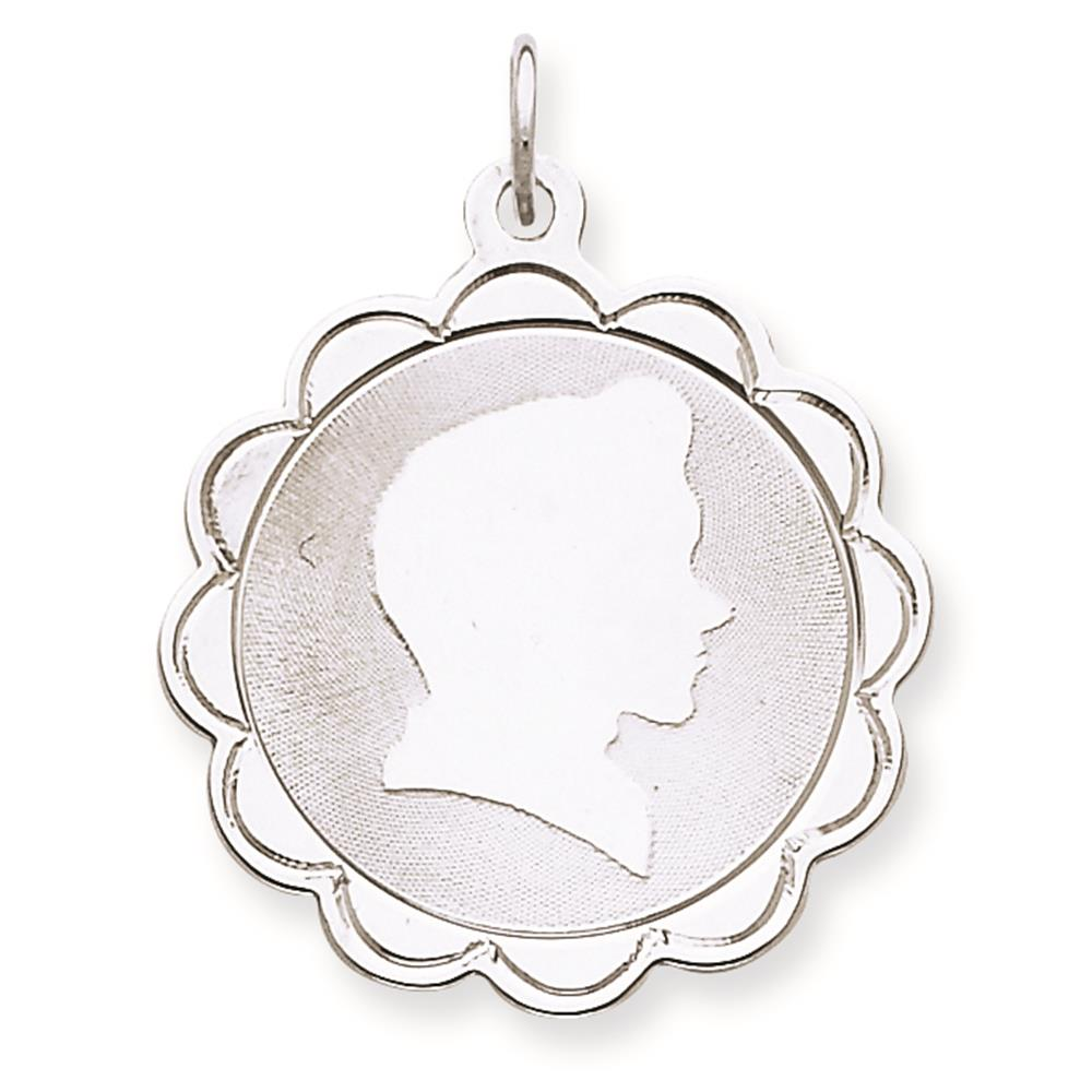 925 Sterling Silver Engravable Boy Disc Charm Pendant