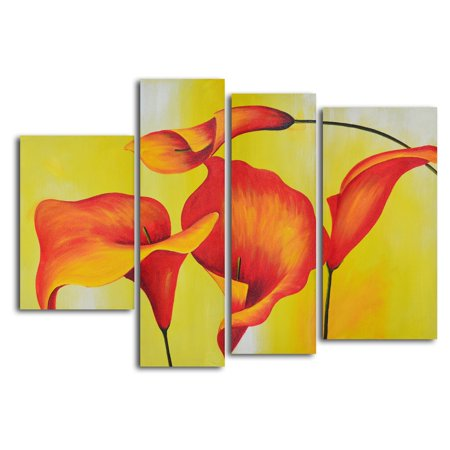 Lilies Oil Painting - Consultation of Amber Lilies 4-Piece Oil Painted Wall Art Set