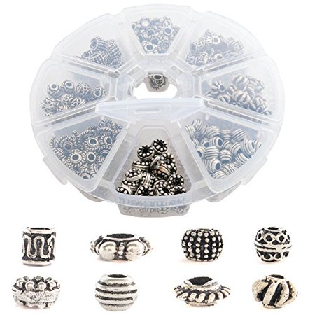 Over 500PCs Tibetan and Bali Silver Finish Metal Spacer Beads for Jewelry Making Findings - 8 Style Unique Antique Look Bulk Bead Assortment | 2-3.9 mm Holes - Great for