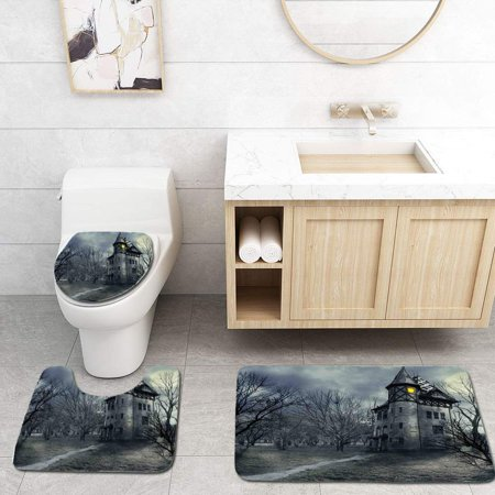 XDDJA Halloween Gothic Haunted House Dark Sky and Leafless Trees Spooky Theme 3 Piece Bathroom Rugs Set Bath Rug Contour Mat and Toilet Lid Cover - image 1 of 2