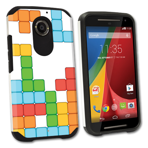 MightySkins Protective Bumper Case Cover for Motorola Moto X (2nd Gen) hybrid tpu rubber plastic Tetris