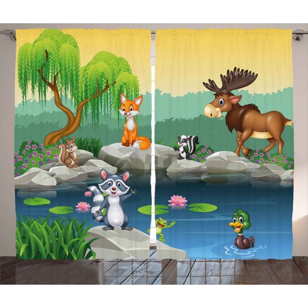 - Cartoon Curtains 2 Panels Set, Funny Mascots Animals by the Lake Moose Fox Squirrel Raccoon Kids Nursery Theme, Window Drapes for Living Room Bedroom, 108W X 63L Inches, Multicolor, by Ambesonne