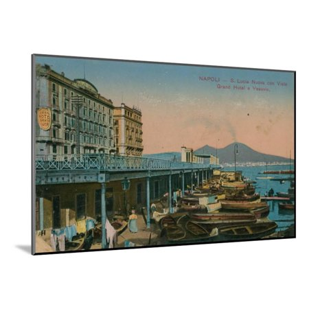 Naples - View of the Grand Hotel Santa Lucia and Mount Vesuvius. Postcard Sent in 1913 Wood Mounted Print Wall Art By Italian Photographer