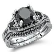 Noori Collection Noori 14k White Gold 3 1/10ct TDW Black Round Diamond Bridal Set