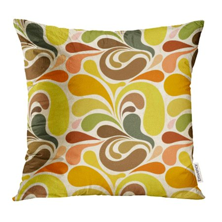 CMFUN 1970S Retro Abstract Floral Pattern 1960S Flower Line 1950S Beautiful Bright Pillowcase Cushion Cover 20x20 (Retro 1970s)
