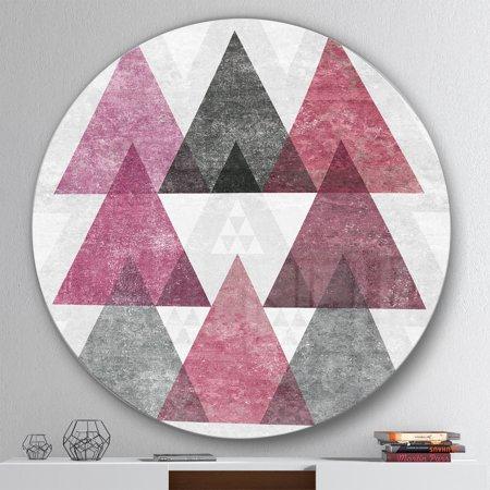 Designart 'Pink Geometric Mod Triangles I' Geometric Metal Circle Wall Art - image 2 de 3