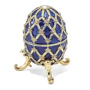 Mia Diamonds Bejeweled Grand Royal Blue (Plays Unchained Melody) Musical Egg - (L: 2.5in x W: 2.5in)