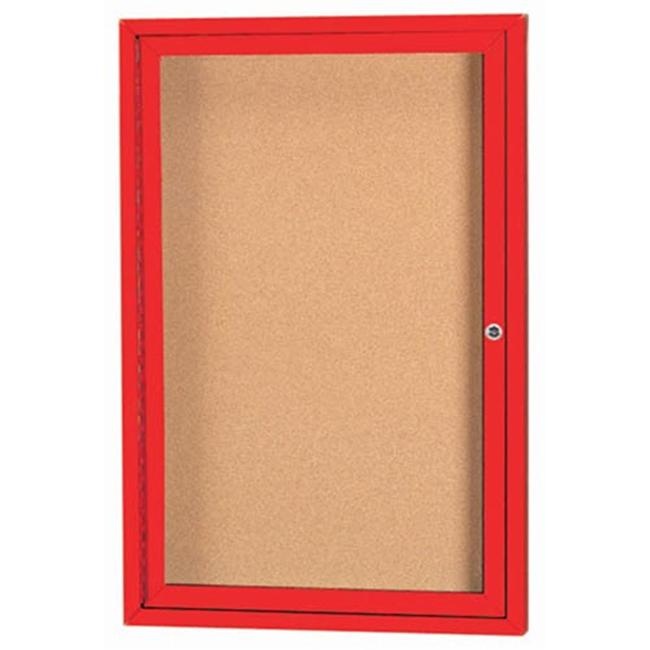 Aarco Products DCC3624RIR 1-Door Illuminated Enclosed Bulletin Board - Red