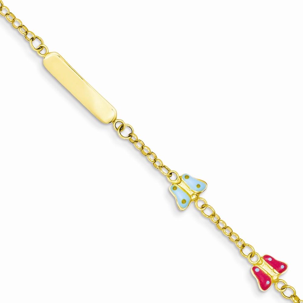 14k Yellow Gold 6in Enamel Butterfy Baby/Child ID Bracelet (Plate:0.7 x 0.1in)