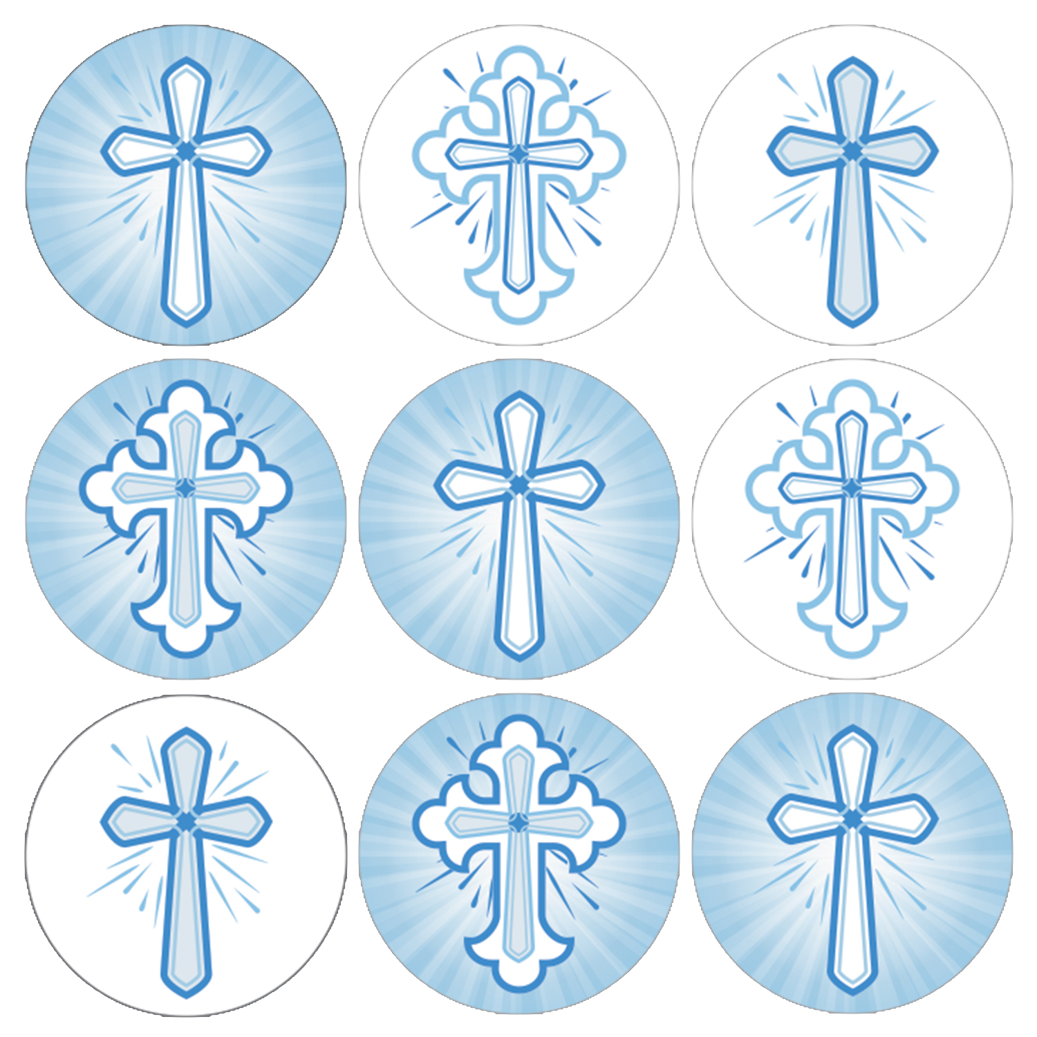 Baby Boy Baptism Favor Stickers - 216ct - Religious Christian Blue Crosses - Christening First Communion Decorations Party Supplies - Set of 216 Stickers