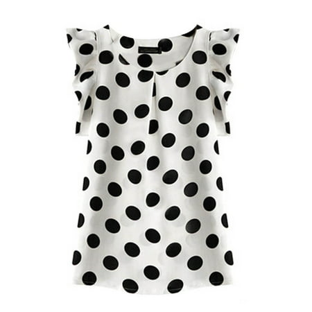 Polka Dot Ruffle Legging - OUMY Women Chiffon Ruffled Short Sleeve Polka Dots Shirts Tops