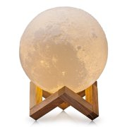 3D Printing Moon Lamp Diameter 20CM Touch Switch Luna Night Light Color And Brightness Adjustable With Wooden Mount
