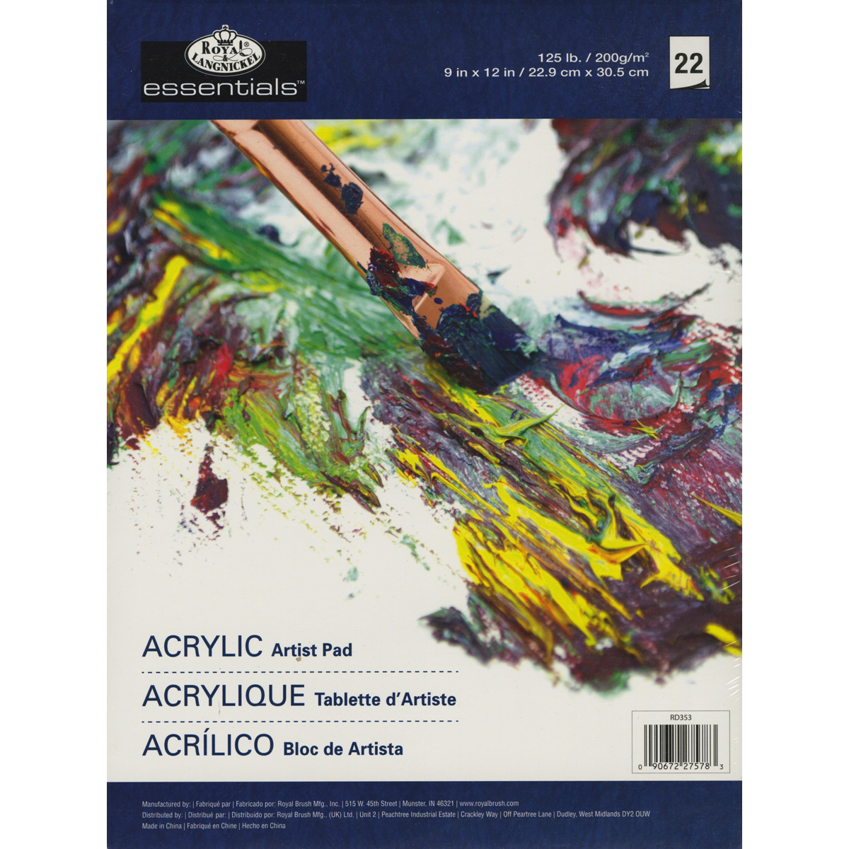 "Royal Brush Essentials Artist Paper Pad, 9"" x 12"", Oil and Acrylic, 22 Sheets"