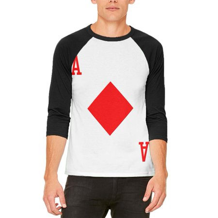 Halloween Ace of Diamonds Card Soldier Costume Mens Raglan T Shirt (Halloween King Diamond Mp3)